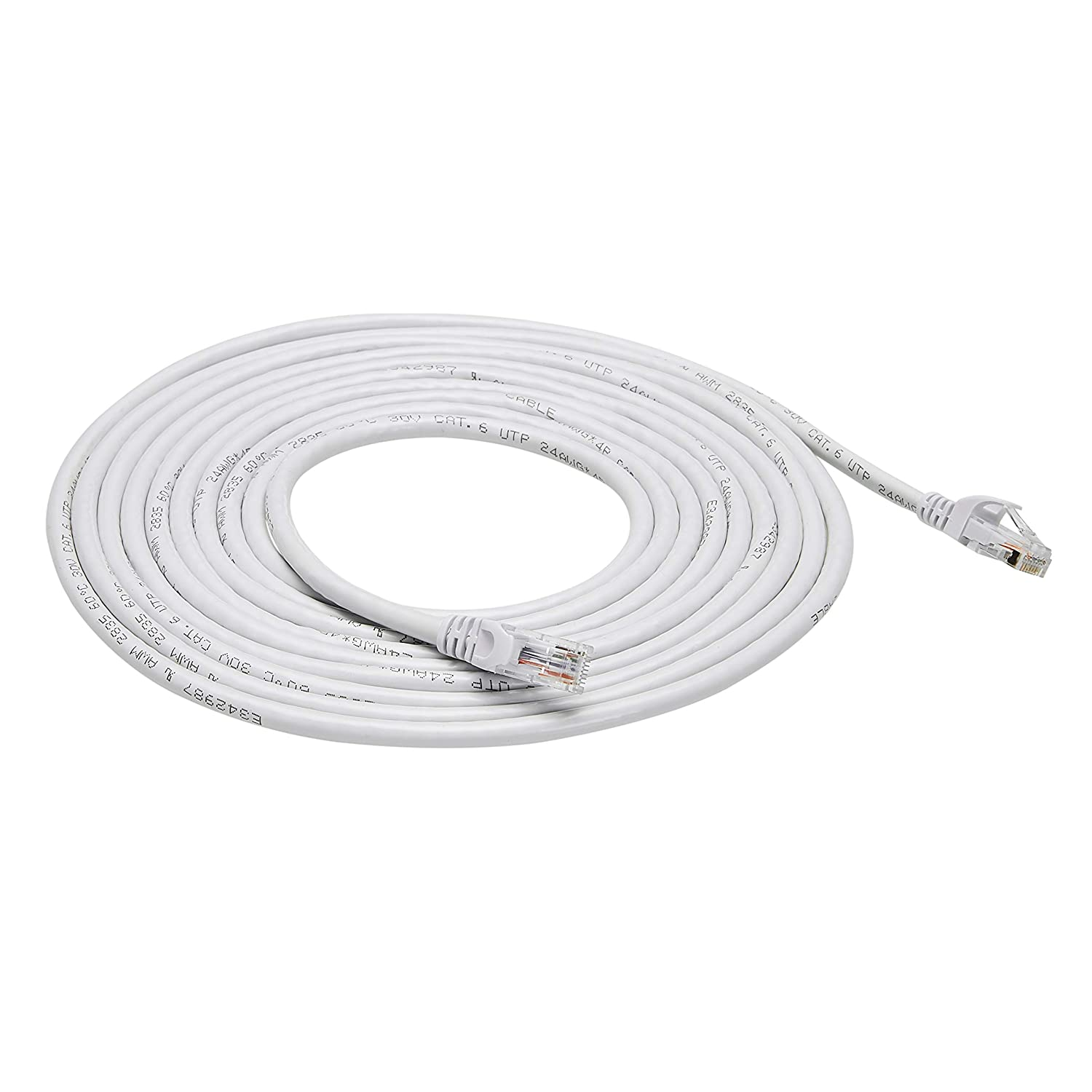 AmazonBasics Snagless RJ45 Cat-6 Ethernet Patch Internet Cable - Pack of 5 - 15-Foot, White