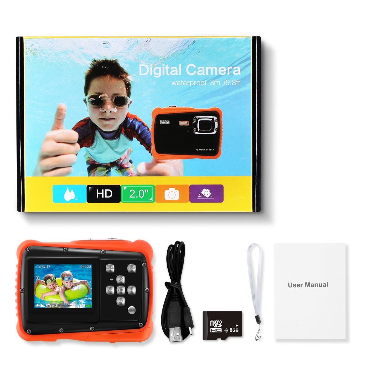 KIVIS HD Underwater Kids Camera, 9.8ft Waterproof Digital Children Action Camera Video Camcorder with 8x Digital Zoom, Flash Light and Mic, Best BD Gift for your Boys Daughters(Orange with 8G SD Card)