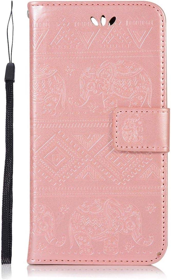 Sangrl Funda para Xiaomi Redmi 5 Plus, Libro Cuero de la Premium PU Leather Case Elephant Pattern Protective Case para Xiaomi Redmi 5 Plus - Rose Gold