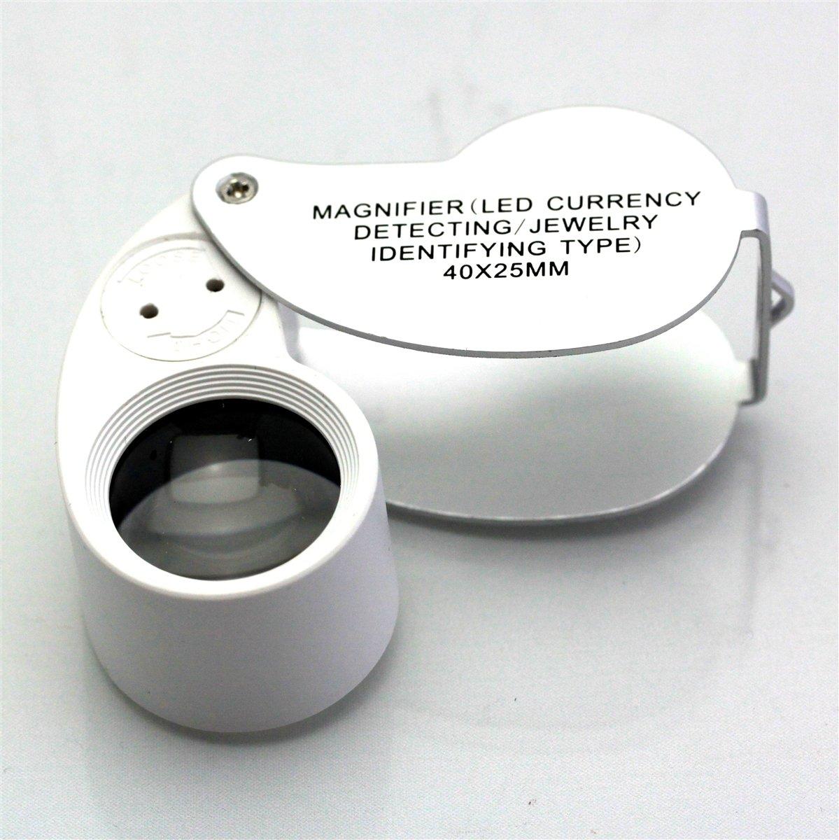 40 x 25mm Juwelier Lupe 40 Fach Schmuck Vergr/össerungs-Lupe mit LED Licht f/ür besseres sehen