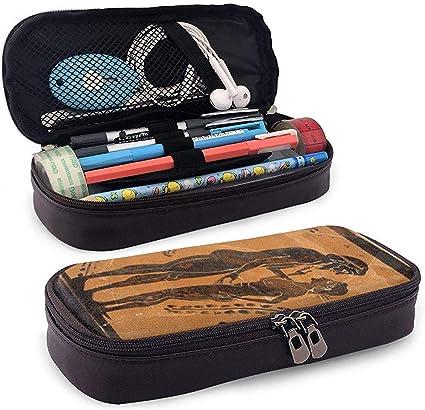 Caja de lápices de cuero de PU de frescos antiguos Bolsa con ...
