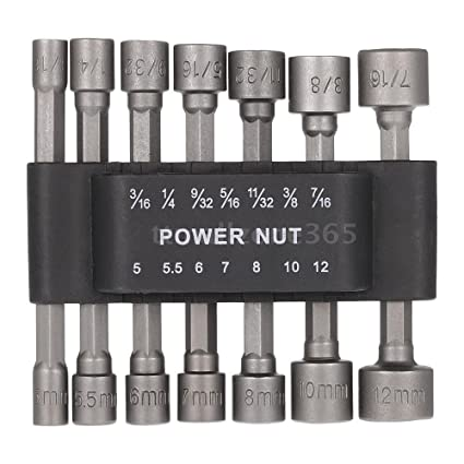"14PC Power Nut Driver Set BLACK CASE Dual Metric /& Standard SAE 1//4/"" Shank"