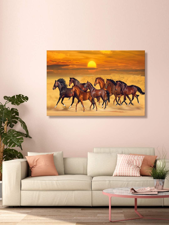 999Store Cuadro impreso de caballos corriendo de color marrón (91 x 60 cm), LP24360100