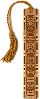 product image for Tiki Totem Artwork, Engraved Wooden Bookmark with Tassel - Search B07QZTSP77 for Personalized Version
