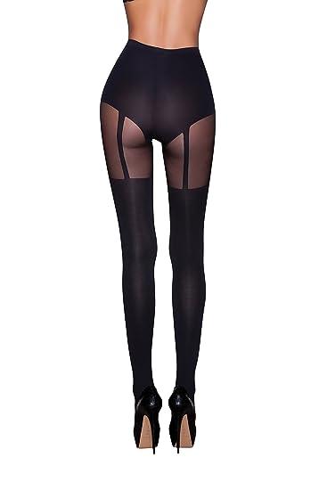 7da72b20eb1 ScarletKiss Designer Hype Faux Garter Opaque Hosiery Stocking Tights ...