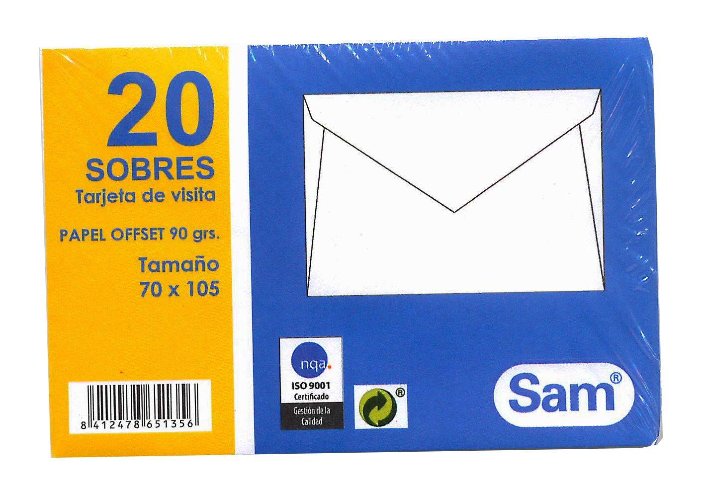 /Pack de 20/enveloppes pour cartes de visite Sam 665135/ 70/x 105/mm