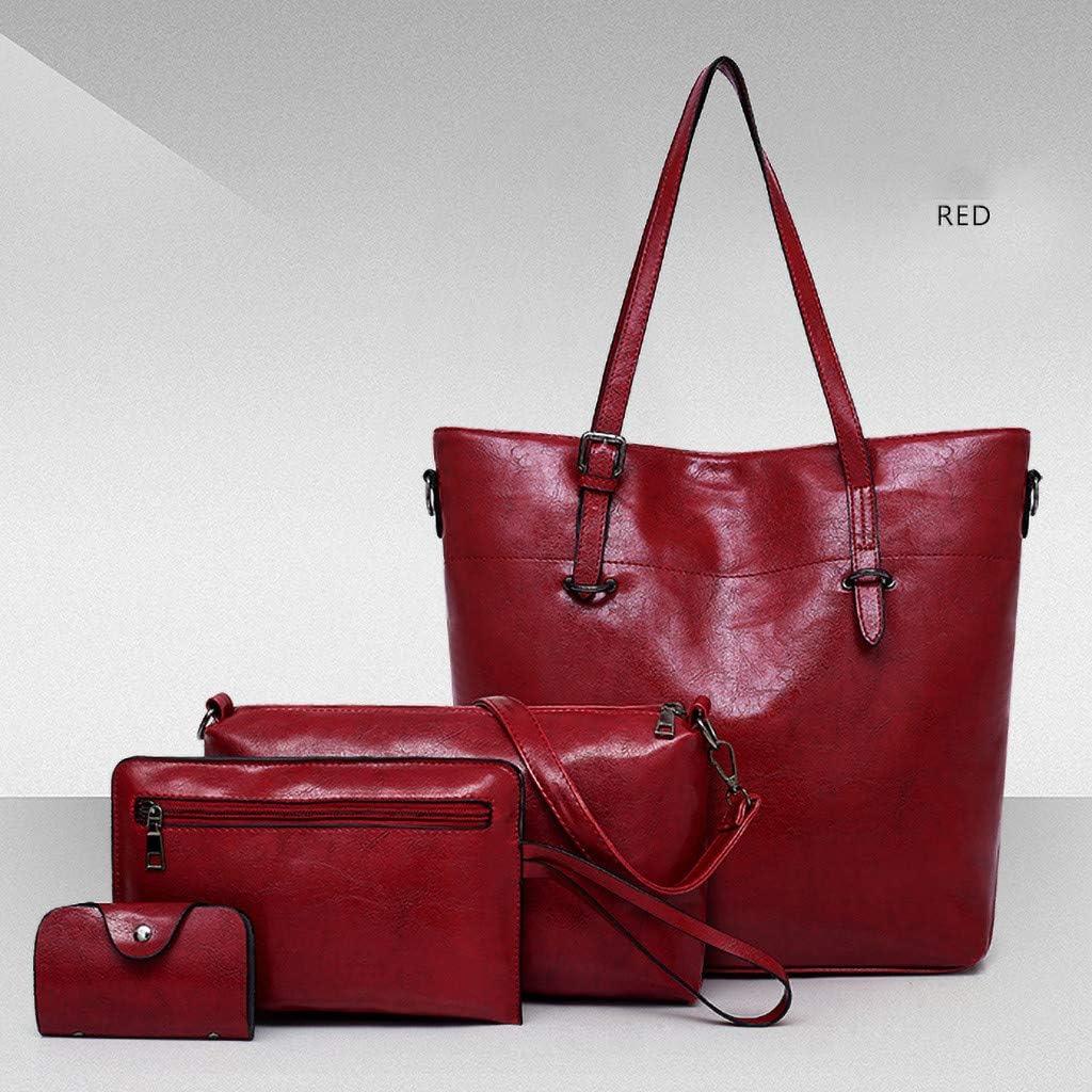 LIHAEI Handtasche Damen Handtaschen Shopper Groß Schultertasche Elegant Geldbörse Kartenhalter Einkauf Reise Leder Tasche 4-teiliges Set Geschenk Rot