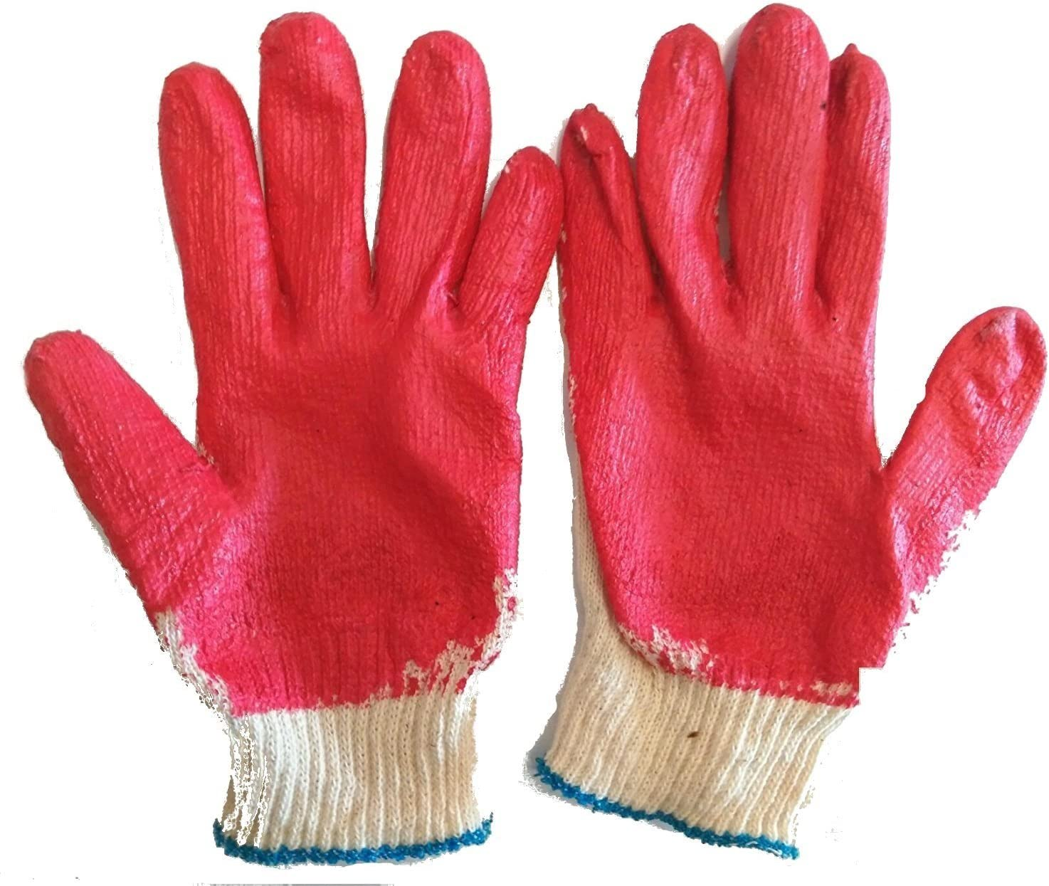 MADE IN KOREA WHOLESALE 10 PAIRS Red Latex Rubber Palm Coated Work Gloves