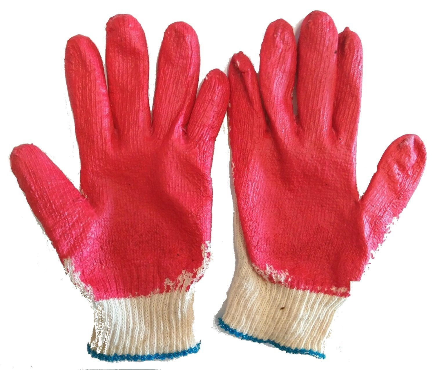 ChulSan 100 Pairs Red Latex Rubber Palm Coated Work Safety Gloves