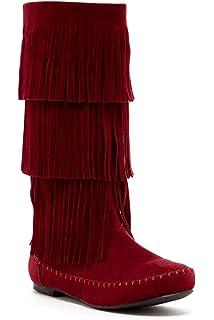 Amazon.com | Minnetonka Women's 3-Layer Fringe Boot | Mid-Calf