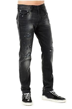 ea5f401b0 True Religion Men s Distressed Super T Geno Slim Jeans w Flap in Worn  Underground (