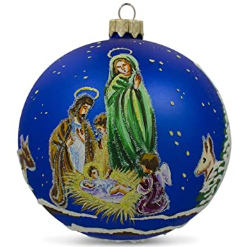 4 angel praying nativity scene ukrainian glass ball christmas ornament