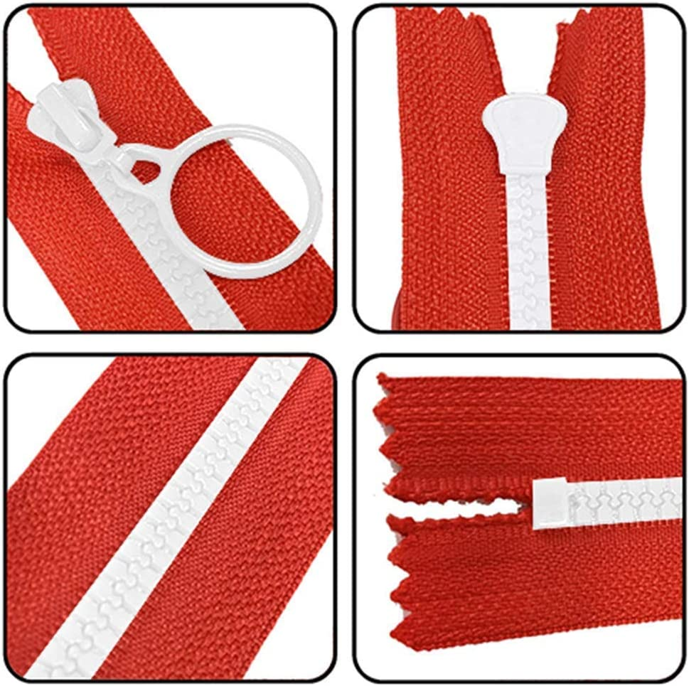 JOYISEN 10PCS Resin Zippers Plastic with Pull Ring 12 Inch Close End Zippers for DIY Bag Sewing Crafts Colorful Zipper