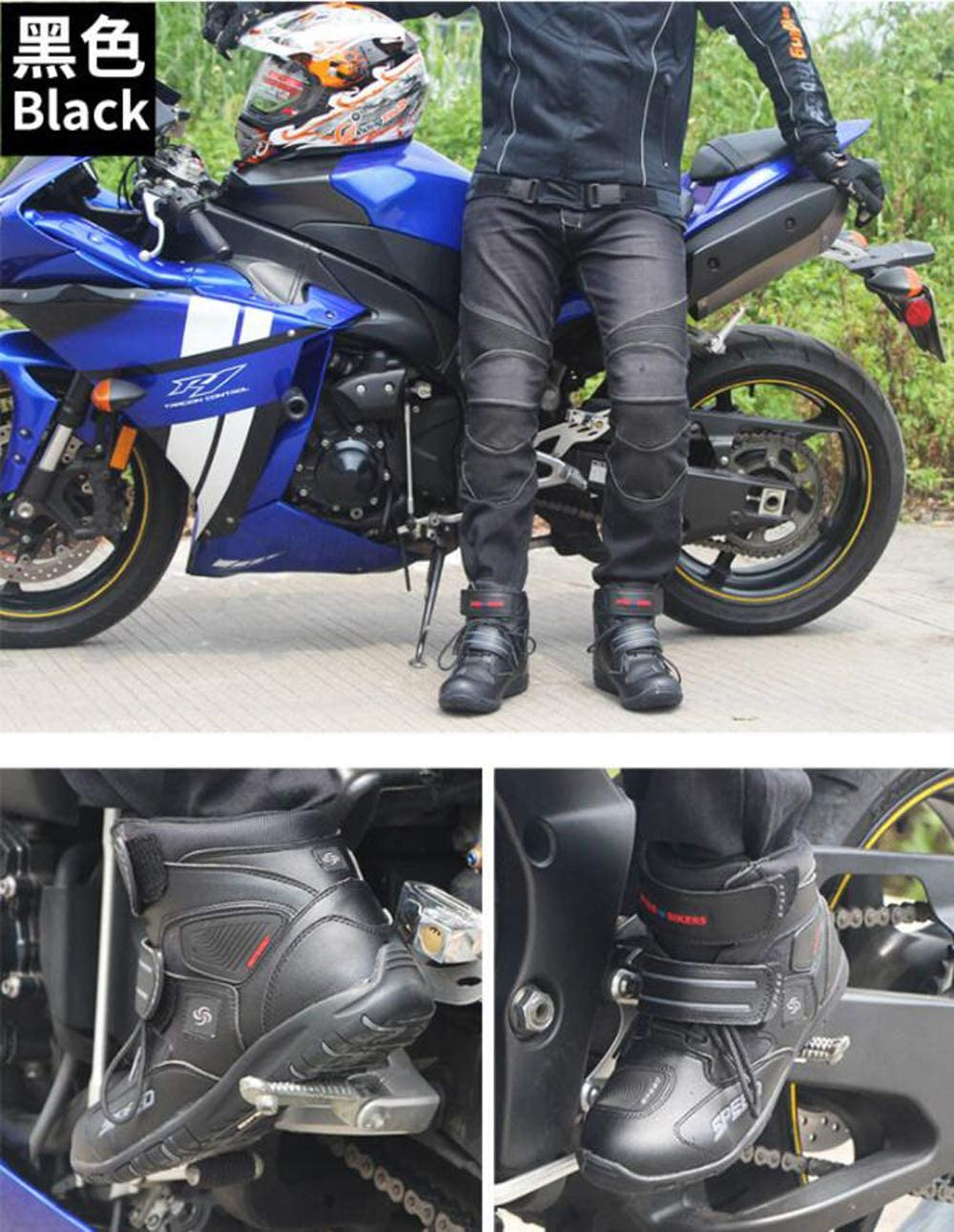 ZZKK Botas de Motos de Cuero a Prueba de Agua Botas de Motos de Carreras Profesionales Motos de Carretera