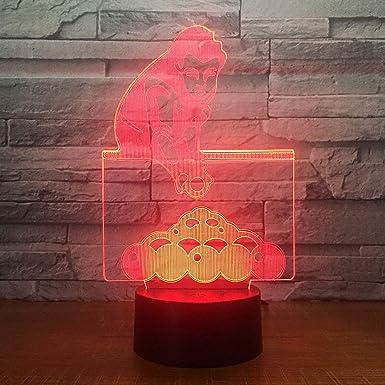 Juego de billar wangZJ Lámpara de ilusión 3d / Regalo de navidad/Luz de noche/Lámpara de mesa al lado / 7 colores/Lámparas de decoración/Regalo de cumpleaños/táctil: Amazon.es: Iluminación