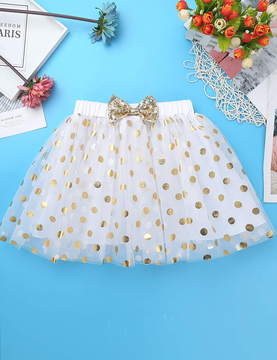 dPois Baby Toddlers Little Girls Fancy Birthday Outfits Cake Mesh Outfits Racer-Back Shirt with Shiny Polka Dots Tutu Skirt 2pcs Clothing Set