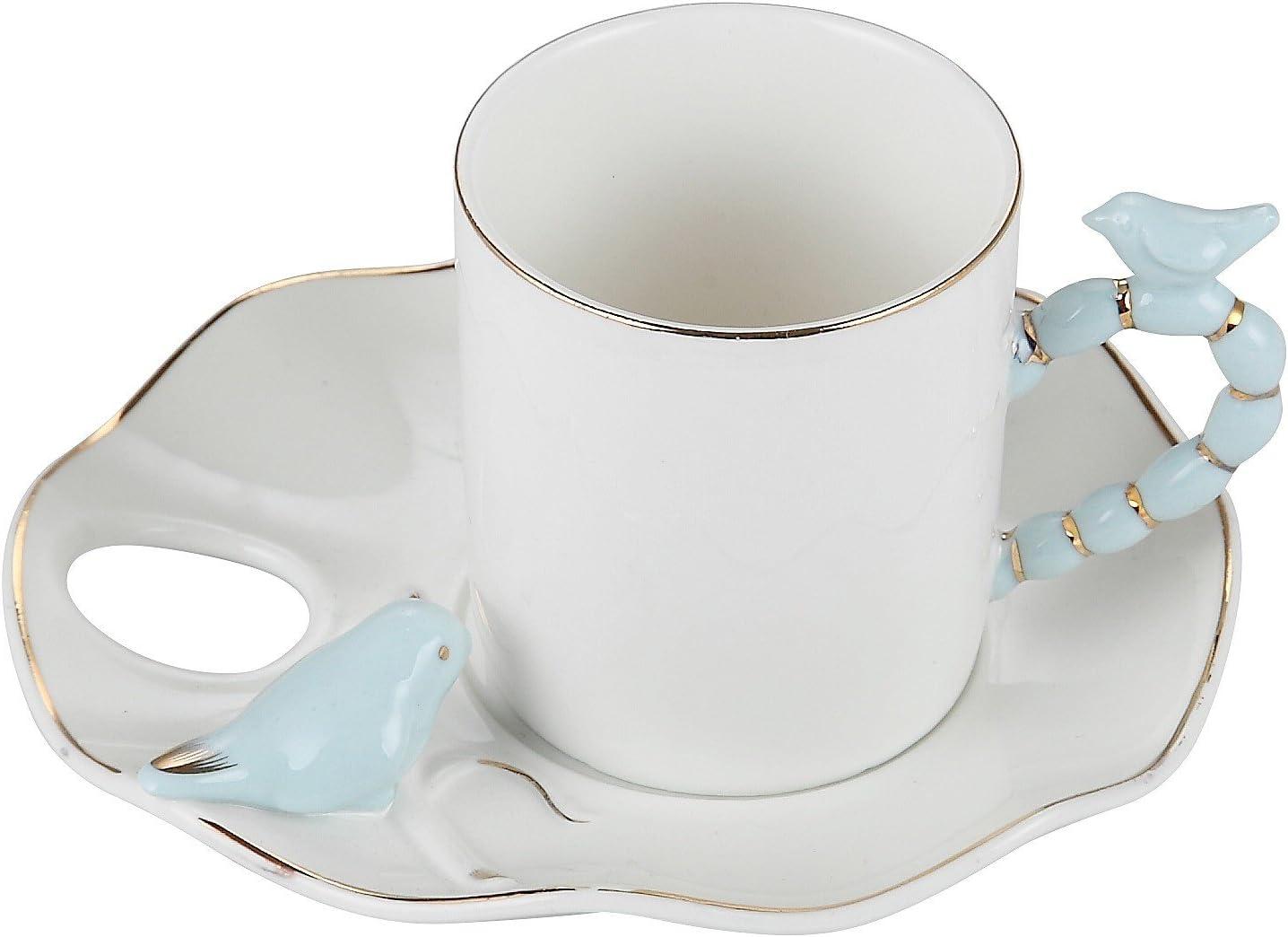 Porcelain Bone China Espresso Turkish Coffee Demitasse Set of 6 Cups + Saucers with 3D Designs (Blue Bird)