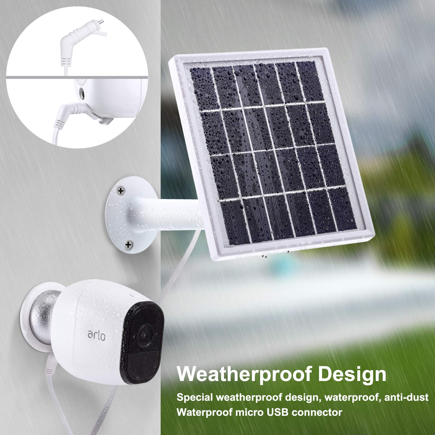Waterproof Arlo Accessory to Power Arlo Pro Outdoor Security Camera Continuously with Adjustable Mount Bracket Blulu Solar Panel Compatible with Arlo Pro 12 Feet// 3.6 m Cable