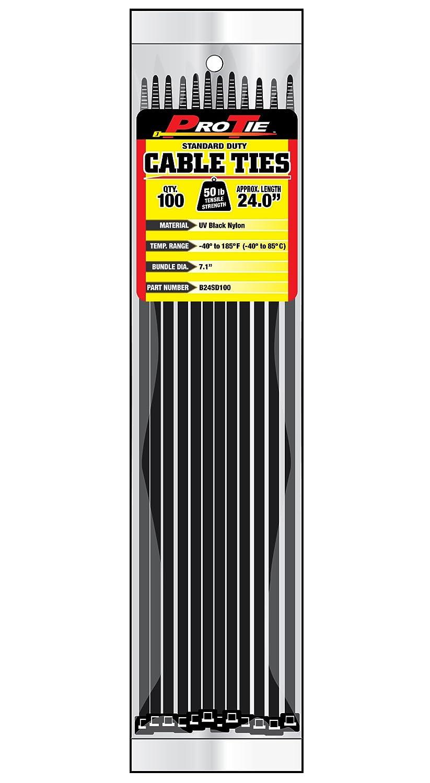 Pro Tie B24SD100 24-Inch Standard Duty Cable Tie, UV Black Nylon, 100-Pack