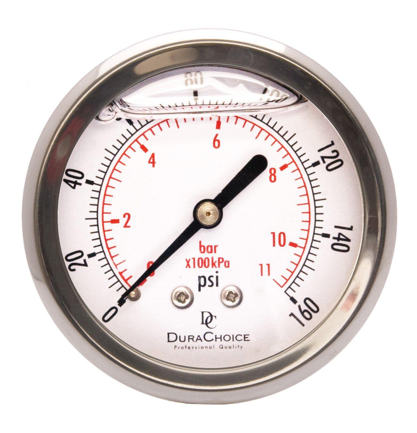 2-1/2'' Liquid Filled Pressure Gauges - Stainless Steel Case, Brass, 1/4'' NPT, Center Back Mount Connection 0-160PSI