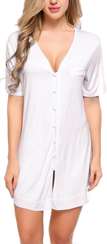 TALLA M. ADOME Mujer Camisón Pijama Una Pieza Algodón Salto de Cama Botones Cuello V Ropa Dormir Interior Camiseta