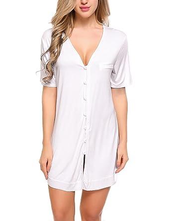 de style élégant promotion spéciale Los Angeles ADOME Femme Chemise de Nuit Coton Pyjama Boutonné Manches Courtes Robe de  Nuit Saint Valentin