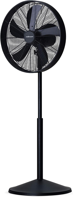 Mellerware Ventilador Air Power 50. Ventilador de Pedestal. 5 aspas 3 velocidades. Acabado Metalizado. Pie Regulable. (Negro)