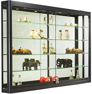 Bon Wall Mounted Tempered Glass And Black Aluminum Display Case, 60 X 39 1