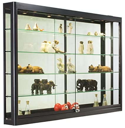 Wall-Mounted Tempered Glass And Black Aluminum Display Case 60 x 39-1  sc 1 st  Amazon.com & Amazon.com : Wall-Mounted Tempered Glass And Black Aluminum Display ...