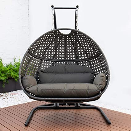 Swing Seat Chair With Stand For Gardens Bedrooms Indoor Outdoor Hanging Furniture Black /& brown