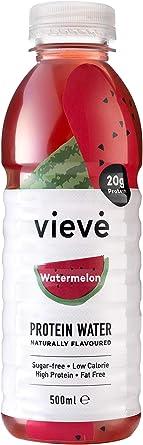 Vieve Agua con Proteína 6x500ml - Sandia. 20g de Proteína, Sin Azúcar, Sin Grasa y Sin Leche. Alternativa Lista para Beber a los Polvos y Batidos de ...
