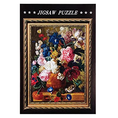 1000 Piece Jigsaw Puzzle for Adults & Kids - Beautiful Framed Flower Painting Educational Assembling Toys - Developing Fine Motor Skills, Memory & Shape Sorting - Gift for Birthday & Mother's Day: Toys & Games