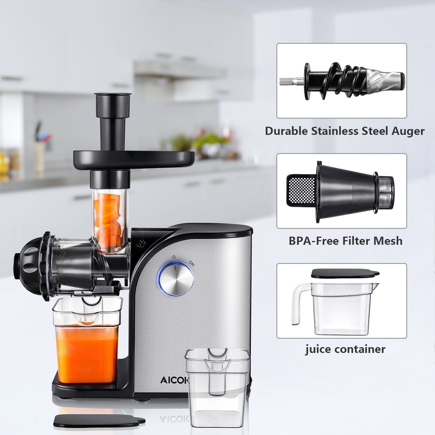 Aicok Slow Masticating juicer, Cold Press Juice Extractor, Stainless Steel, Quiet Motor, High Nutrient Fruit and Vegetable Juice, Black by AICOK (Image #7)