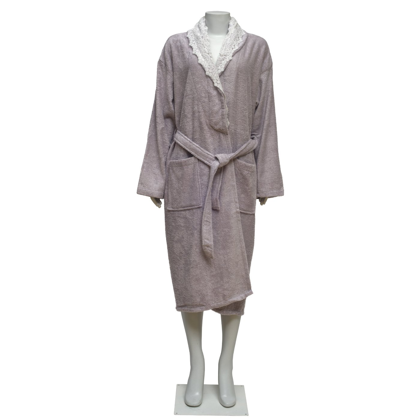 100% Turkish Cotton Extra Plush Bamboo Bathrobe Set with Embroidery Lace, Large Bath Towel, Hair Towel Unisex Terry Bathrobe Set - Moisture Wicking and Odor Resistant (Light Coffee) (Lilac)