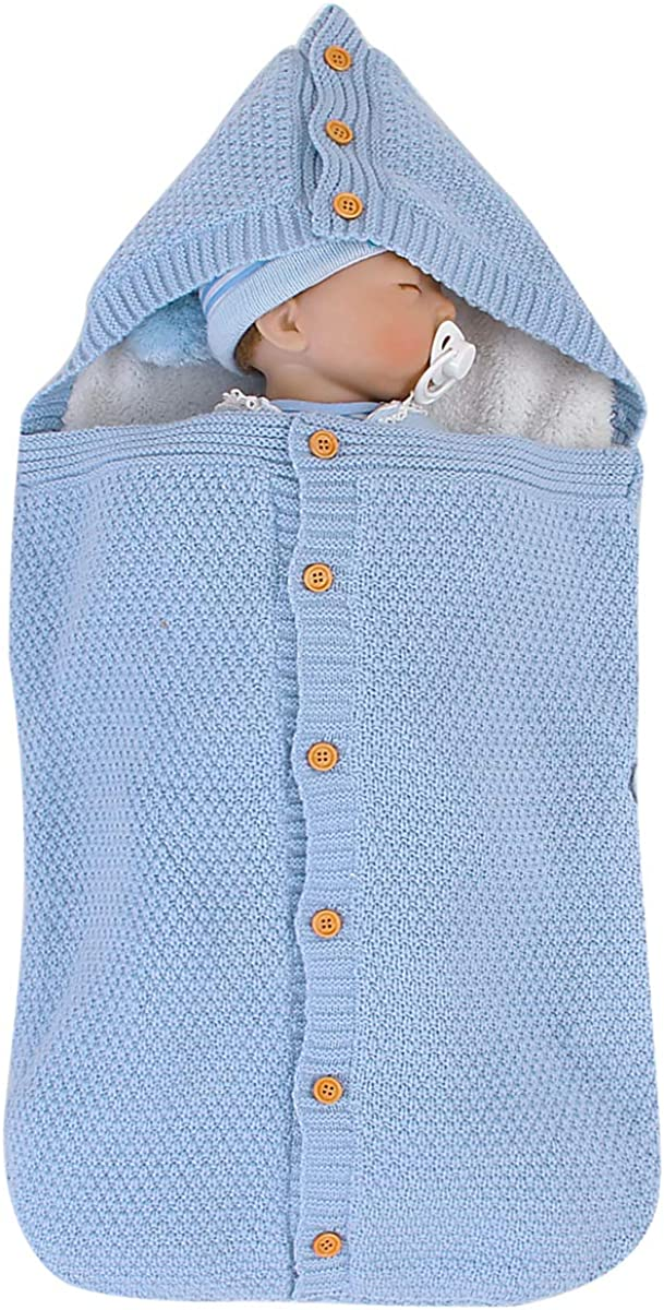 Borlai Newborn Baby Thick Warm Sleeping Bag Knit Fleece Blanket Winter Stroller Wrap for 0-12 Months