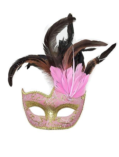 Flywife Pluma Mascarada Máscara Halloween Mardi Gras Máscara Disfraces Veneciano Fiesta Máscara (Rosa)