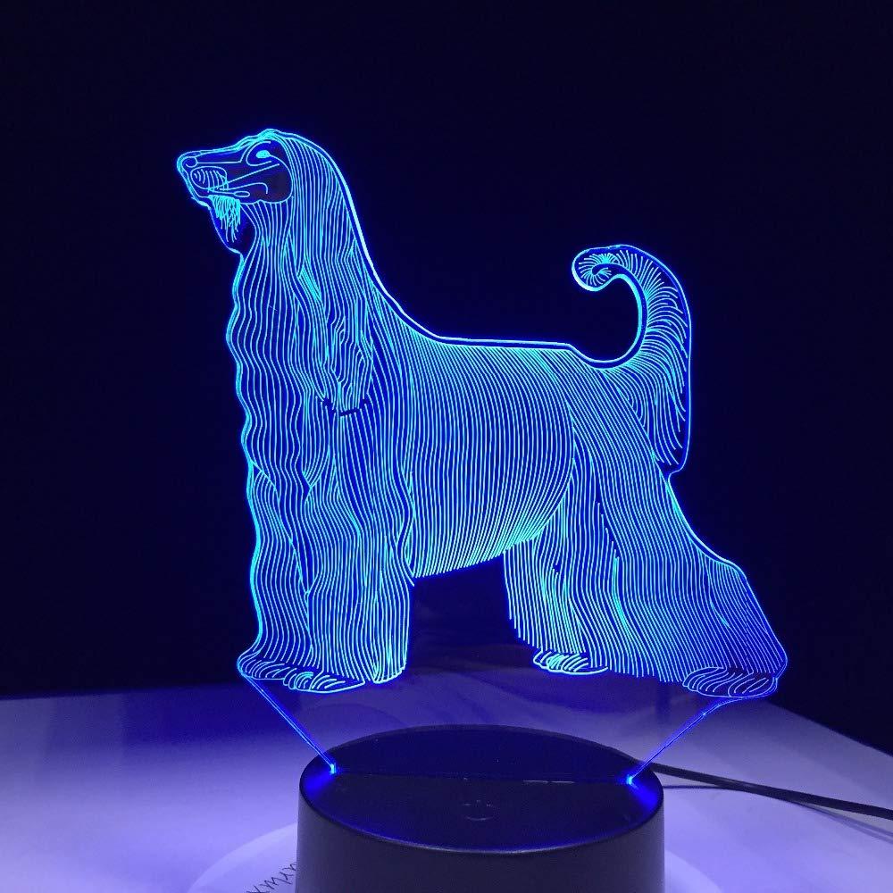 Amazon.com: Lámpara LED 3D para perro, 7 colores, USB táctil ...