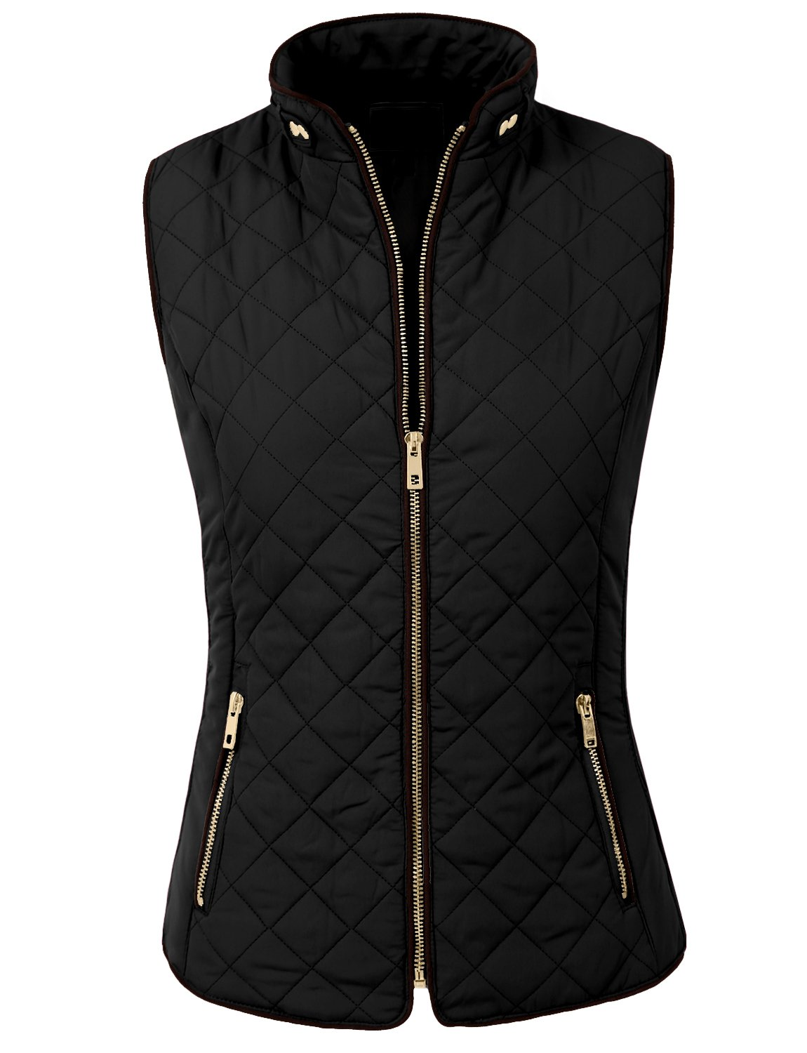 NE PEOPLE Womens Lightweight Quilted Zip Vest, Small, NEWV40BLACK