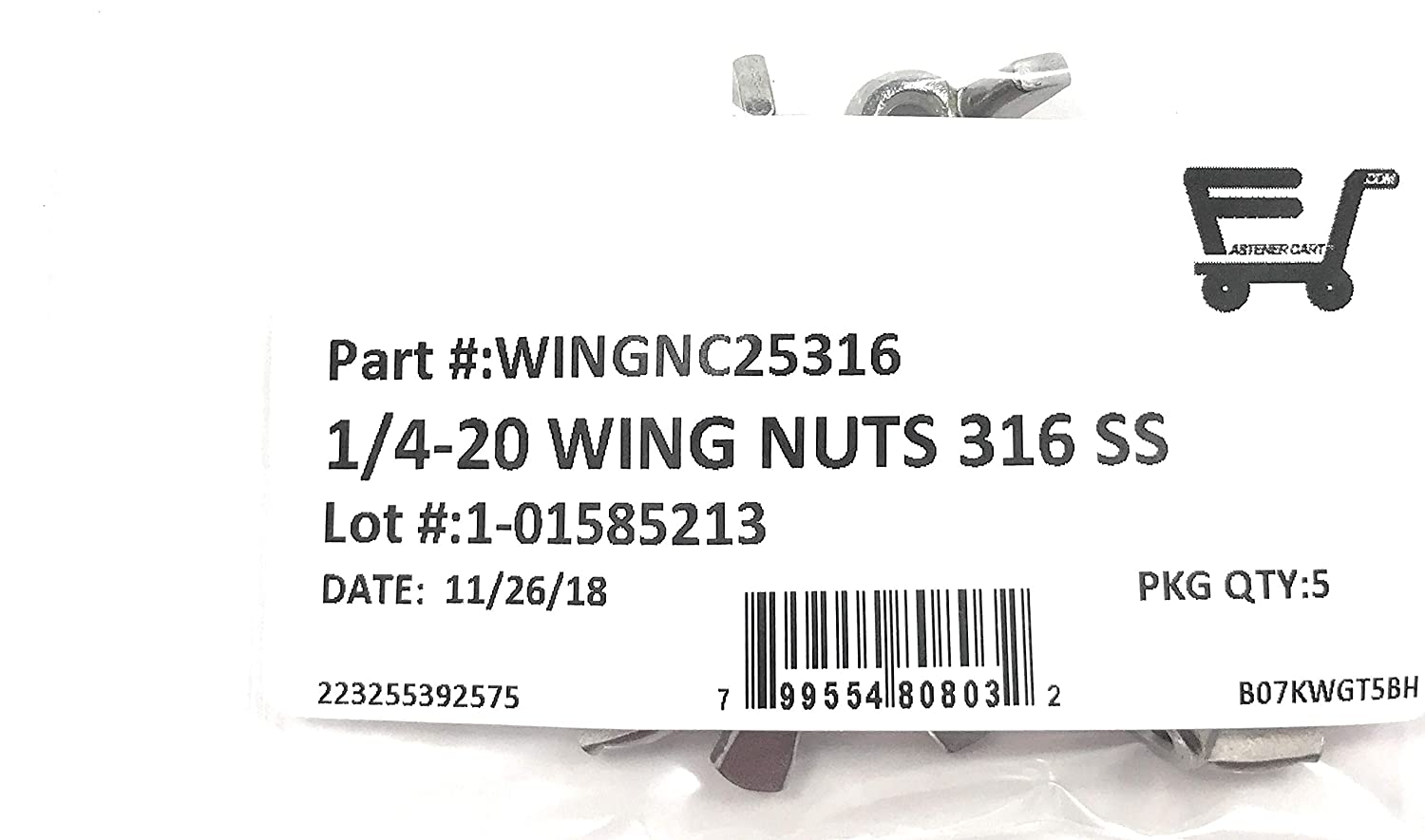 5 Pieces 1//4-20 Stainless Steel Wing Nuts 1//4-20 Butterfly Nuts 316 Marine Grade Stainless Steel