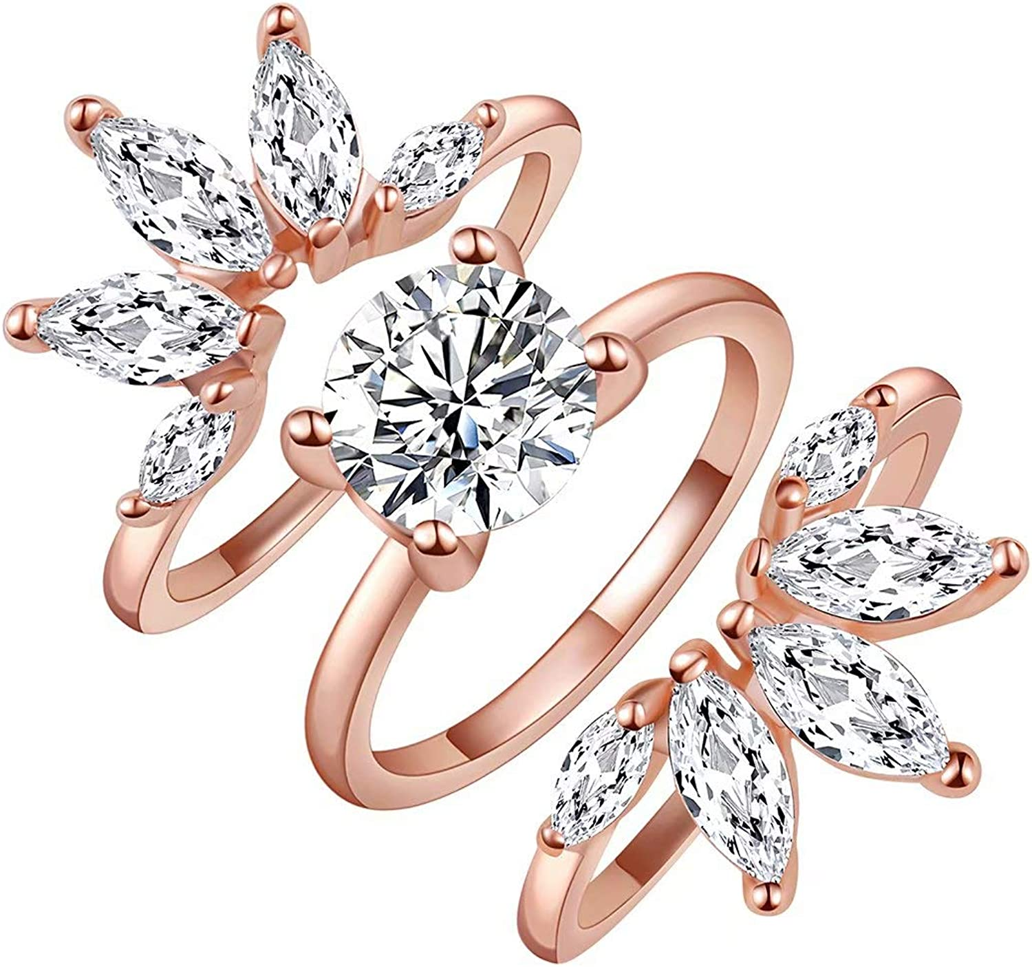 Amazon Com Sr Rings Rose Gold Rings 3pcs Enhancers Rings Set Cubic Zirconia Bands Ring Morganite Wedding Engagement Rings Floral Marquise Guard Rings For Women Girl Size 5 9 Jewelry