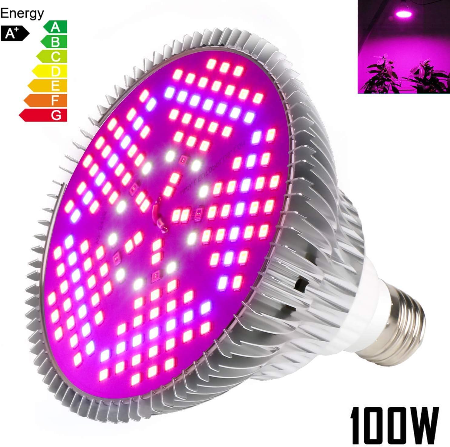 100W Led Grow Light Bulb Full Spectrum,Plant Light Bulb with 150 LEDs for Indoor Plants,E26/E27 Socket,Grow Lamp for Hydroponic Indoor Garden Greenhouse Succulent Veg Flower