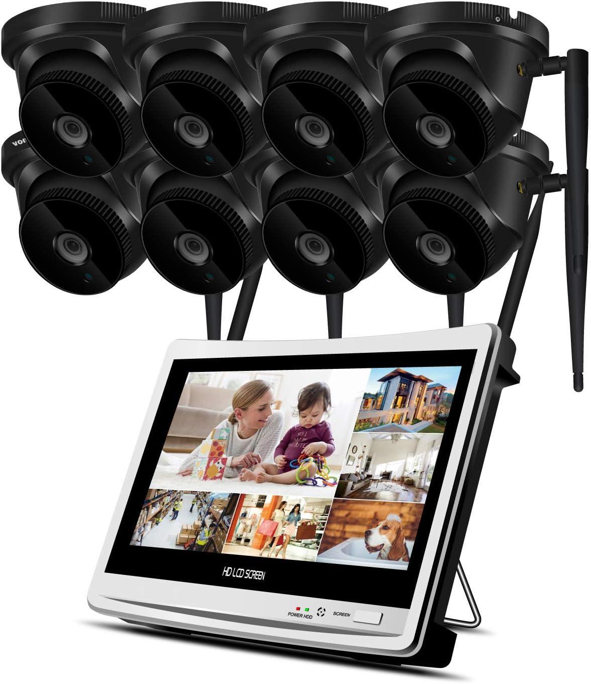 Equipo inalámbrico de cámaras de circuito cerrado de televisión para exteriores de largo alcance 1080p Spotlight WiFi Seguridad IP 4 Kit de cámaras, grabadora de 8 canales NVR con disco duro de 2TB