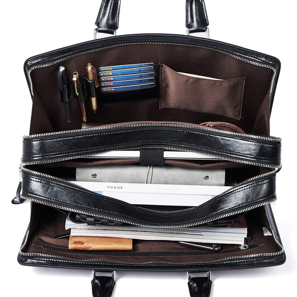BOSTANTEN Women Genuine Leather Briefcase Tote Business Vintage Handbag 15.6'' Laptop Shoulder Bag Black by BOSTANTEN (Image #3)