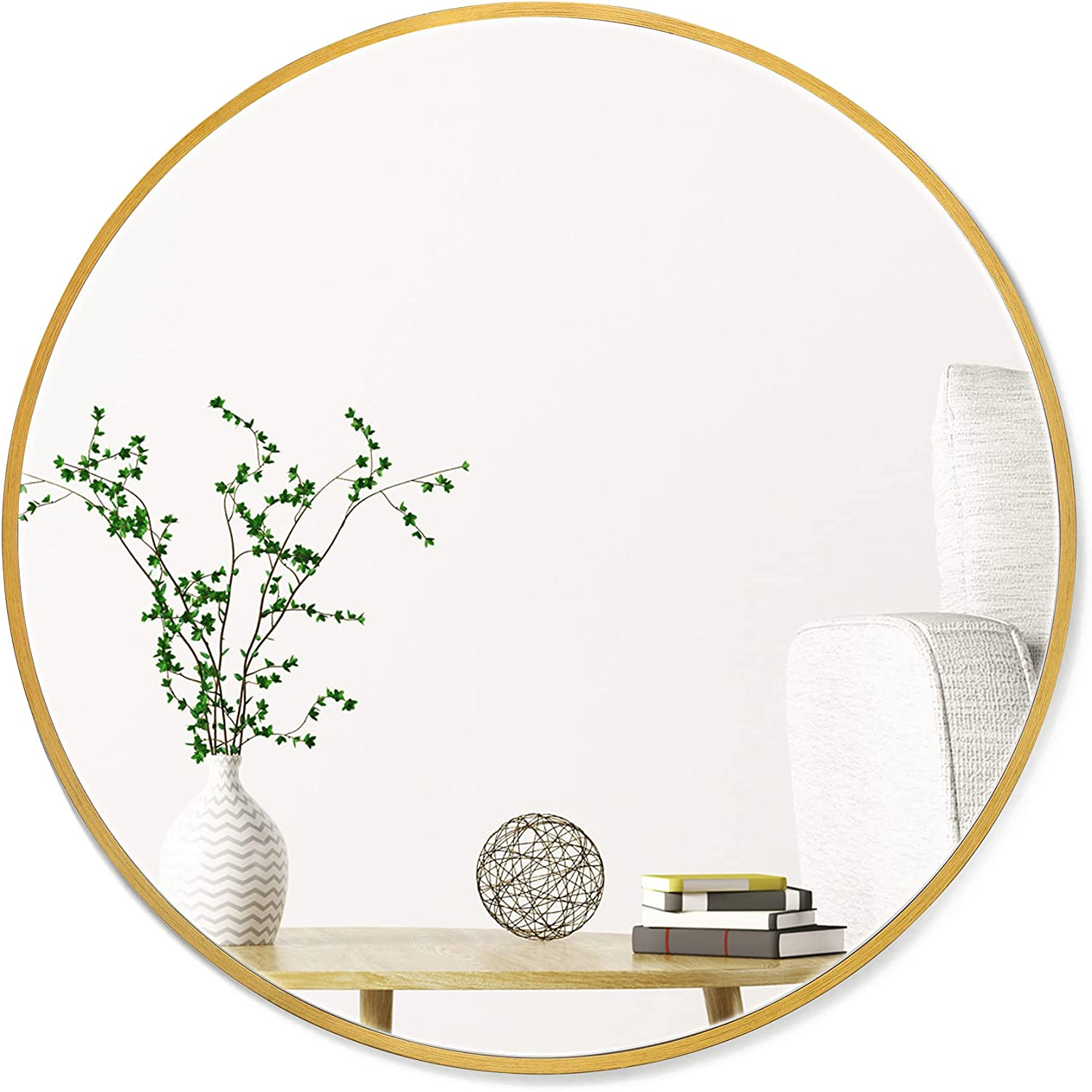 """Untrammelife Gold Round Vanity Wall Mirror,32"""" Brushed Gold Metal Frame Mirror Large Circle Wall Mirror for Bathroom Bedroom Living Room,Gold Antique Brass Mirrors for Wall Decor"""