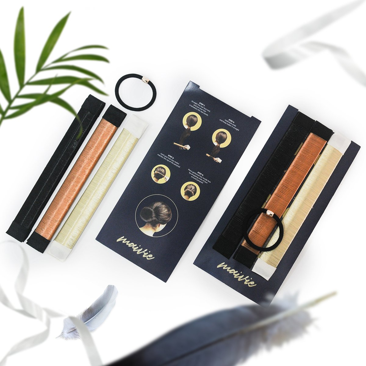 Hair Buns Maker - Fast Messy Perfect Sock Bun Magic Curler Clip French Donut Twist Shaper - Easy DIY Accessories Styling Tool for Women Girls - 3 PCS (Black, Blonde, Brown color) and 1 Hair Tie by Maivie (Image #9)