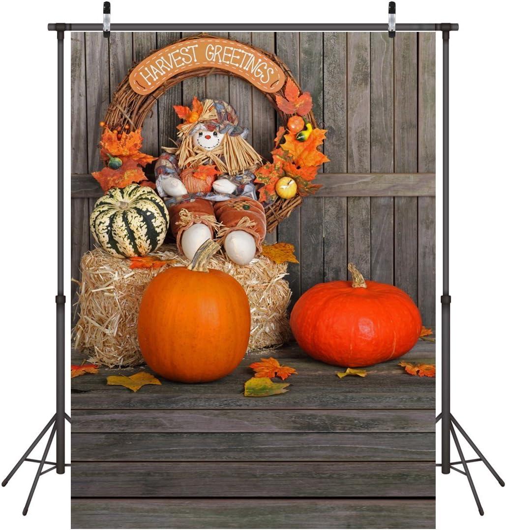 LYWYGG Thanksgiving Harvest Season Backdrop Halloween Backdrop 5x7ft Autumn Pumpkin Backdrops Harvest in Autumn Photography Backdrop Children Photography Background Studio Prop CP-56