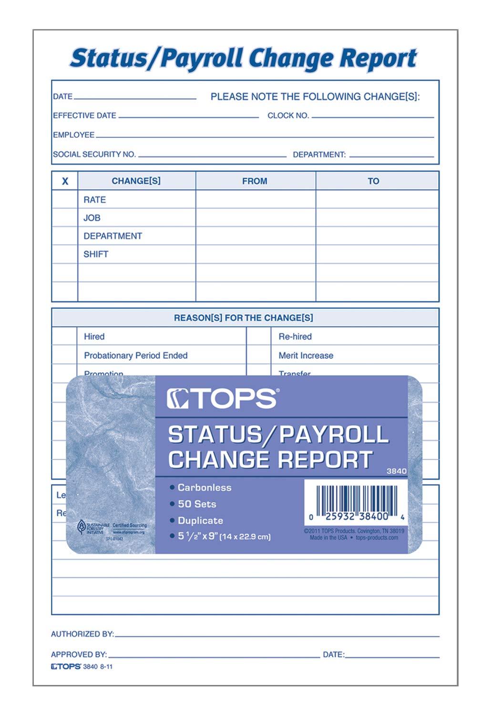 TOPS Employee Status/Payroll Change Report, 2-Part, Carbonless, 50 ST/PK (3840)