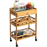 AbocoFur 3-Tier Bamboo Movable Kitchen Dinning Cart, Multifunction Mobile Bar Serving Cart with Lockable Casters Wheels, Util
