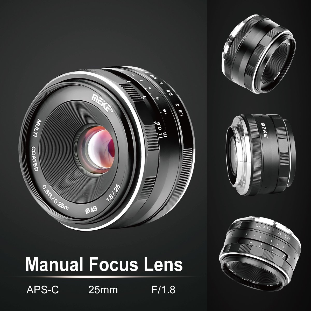 Meike 25mm f//1.8 Large Aperture Wide Angle Lens Manual Focus Lens for Olypums Panasonic Micro 4//3 Mount Mirrorless Cameras