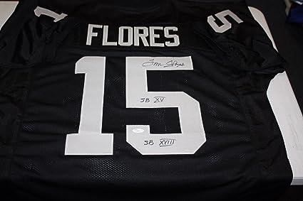 Oakland Raiders 15 Tom Flores Signed Home Jersey Sb Xv Xviii